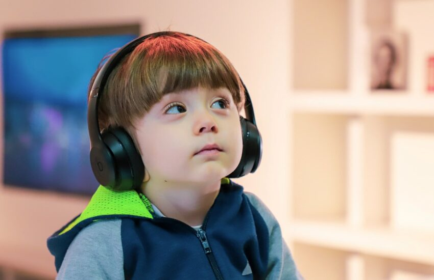 A child listening to a podcast